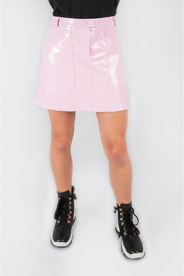 PATENT LEATHER PINK SKIRT