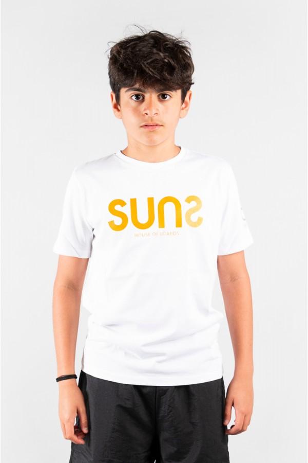 SUNS T-SHIRT BIANCO LOGO FLUO