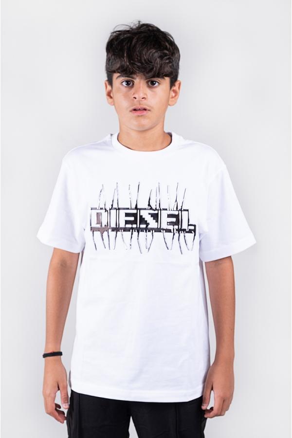 DIESEL T-SHIRT BIANCO ARGENTO