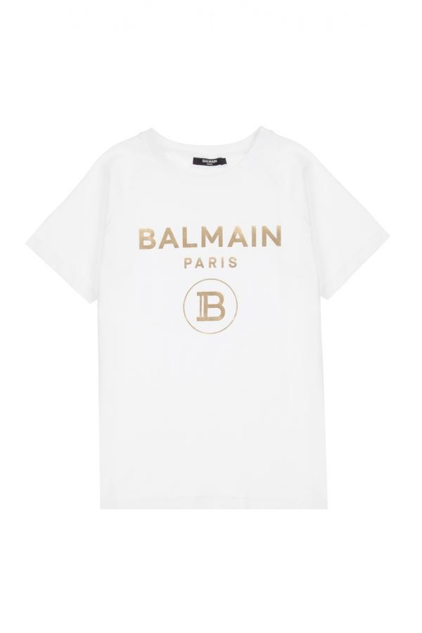BALMAIN T-SHIRT BIANCO/ORO